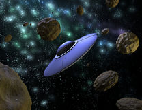 UFO im Raum Lizenzfreie Stockbilder