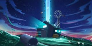 Free UFO Incident. SpitPaint, SpeedPaint. Concept Art Stock Images - 130754784
