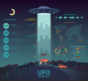 UFO infographic with disk beam abducting cow. Circle and bar, linear charts or graphs with percentage, unknown flying object with beam, crash and abduction Stock Image
