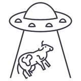Ufo invasion, cow vector line icon, sign, illustration on background, editable strokes royalty free illustration