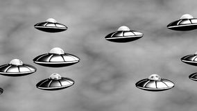 UFO invasion. Old Science Fiction Film. Seamless. 3D animation in retro style stock footage