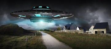 UFO invasion on planet earth landascape 3D rendering. Metal and silver UFO invasion on planet earth landascape 3D rendering Royalty Free Stock Photography