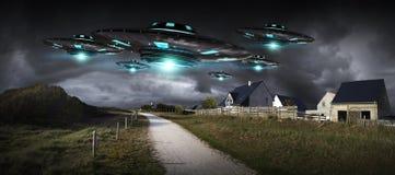 UFO invasion on planet earth landascape 3D rendering. Metal and silver UFO invasion on planet earth landascape 3D rendering Royalty Free Stock Images