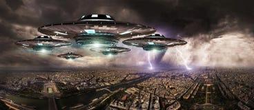 UFO invasionover planety ziemi miasta 3D rendering Zdjęcia Royalty Free
