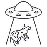 Ufo inwazja, krowa wektoru linii ikona, znak, ilustracja na tle, editable uderzenia royalty ilustracja