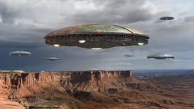 UFO inwazja nad Uroczystym jarem ilustracja wektor