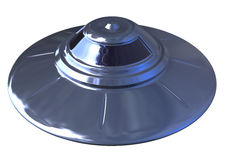 Ufo isolated. 3d isolated retro style shiny ufo object on white background with clipping path Stock Photo
