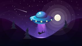 UFO kidnaps a person - cartoon illustration. Stock Photo