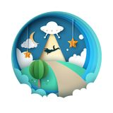 UFO kidnaps a person - cartoon paper illustration. Stock Photography
