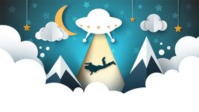 UFO kidnaps a person - cartoon paper illustration. Stock Images