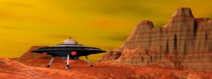 UFO landed - 3D render Stock Images