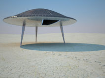 Ufo Landing. The Landing of flying saucer on the earth Royalty Free Stock Photo