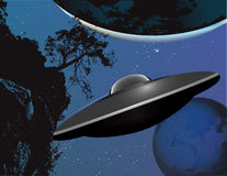 UFO landing Royalty Free Stock Images