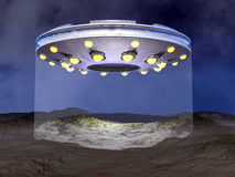 UFO landing - 3D render. UFO landing on desertic land by night - 3D render Royalty Free Stock Photography