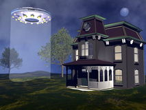 UFO landing - 3D render. UFO landing next to a house by night - 3D render Royalty Free Stock Image