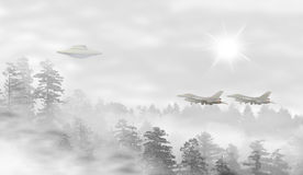 UFO in a landscape of misty forest at sunrise. Fighter jets taking off - concept of mystery Royalty Free Stock Photo