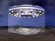 UFO-Landung - 3D übertragen Lizenzfreie Stockfotografie
