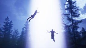 UFO lata nad lasem i skanuje dom świadczenia 3 d obraz stock