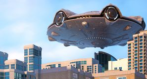UFO lata nad miastem royalty ilustracja