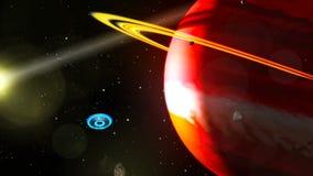 UFO latanie Przez przestrzeni, Abstrakcjonistyczny Backgrpund ilustracja wektor