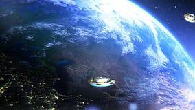 UFO latanie Przez przestrzeni, Abstrakcjonistyczny tło ilustracji