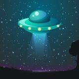 UFO-Lichtvektor Ausländische Himmelstrahlen UFO-Raumschiff mit Strahl, Untertassen-UFO-Fliegenillustration stock abbildung