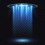 UFO light beam, aliens futuristic spacecraft  on transparent checkered background vector illustration. Saucer transport in dark Stock Images