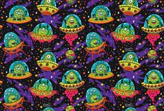 UFO lindo de la historieta en el modelo inconsútil del espacio Ilustración del vector ilustración del vector