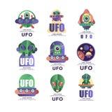 Ufo loga projekta oryginalny set, emblemat z obcym i spodeczek wektorowe ilustracje na białym tle, ilustracja wektor