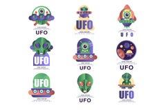 Ufo loga projekta oryginalny set, emblemat z obcym i spodeczek wektorowe ilustracje na bia?ym tle, royalty ilustracja