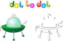 UFO lub latający spodeczek Łączy kropki i dostaje wizerunek Edukacyjni dziąsła royalty ilustracja