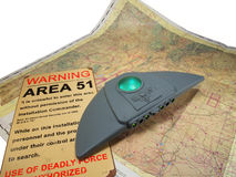 UFO with map and sign. UFO ship hovering over New Mexico map and Area 51 sign Royalty Free Stock Photo