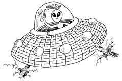 UFO Maze. An illustration of a martian in a UFO. Complete the maze Royalty Free Stock Photography