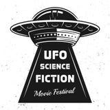 Ufo med festival för textsciencefilm Royaltyfri Illustrationer