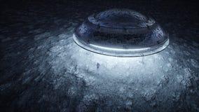 Ufo med främlingen på månen ufobegrepp Realistiska metallshaders framförande 3d royaltyfri illustrationer