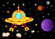 UFO with meteor Royalty Free Stock Photos