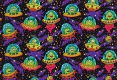 UFO mignon de bande dessinée dans le modèle sans couture de l'espace Illustration de vecteur illustration de vecteur