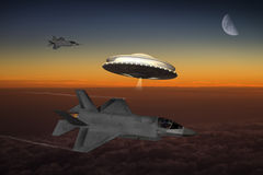 Ufo and modern aircraft encounter Royalty Free Stock Photo