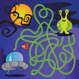 UFO monster maze - vector illustration Stock Photography