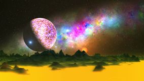 UFO, Moon and Beautiful Nebula over an Alien Planet