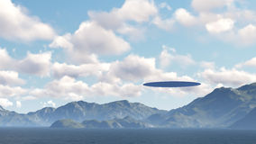Ufo nad naturą ilustracja wektor