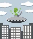 UFO nella città Fotografie Stock Libere da Diritti