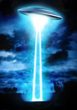 Ufo night abduction. 3D render science fiction illustration Stock Photo