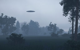 Ufo in night forest Royalty Free Stock Images