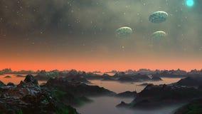 UFO no céu de um planeta fantástico ilustração do vetor