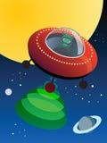 UFO no espaço, ilustração stock