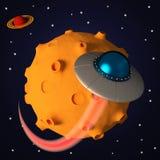 UFO no espaço no estilo dos desenhos animados Fotos de Stock