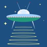 UFO no espaço, uma placa do UFO ilustração stock