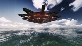 UFO on the ocean video footage. Flying saucer, the mothership on the sea video footage stock footage