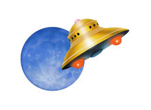 ufo och månen Arkivfoton